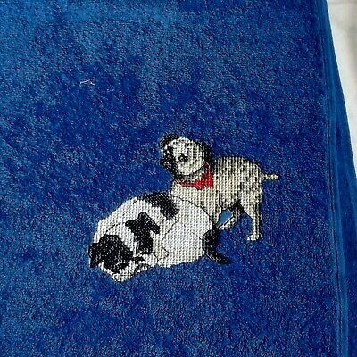 Dogs Embroidered Bath Towel, New Home Gift, Embroidered Towel