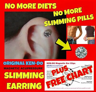 SLIMMING Acupressure Magnetic EARRING No Diet or Weightloss Pills & FREE CHART