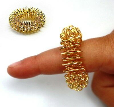 Gold Sujok Acupressure Pain Relief Arthritis Therapy Finger Massager RING