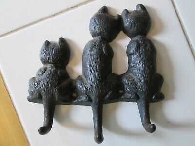 Vtg 1998 Cast Iron Cat Kitty Kitten Wall Mount Key Hat Coat Jacket Holder Hook