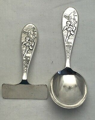 Vintage Solid Silver Baby Spoon & Pusher Tom The Pipers Son 1938 (1150-DOYO)
