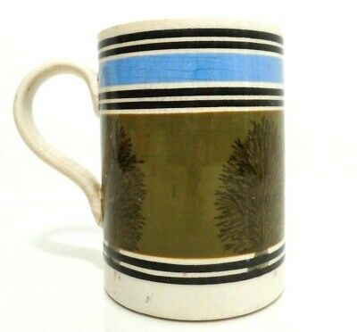 Rare 19Th C English Imperial 1 Pt Tankard Soft Paste Mochaware W/Seaweed Decor