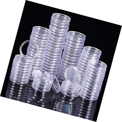 100 Pieces Coin Capsules Round Holder Plastic Container Case for Collection Supp