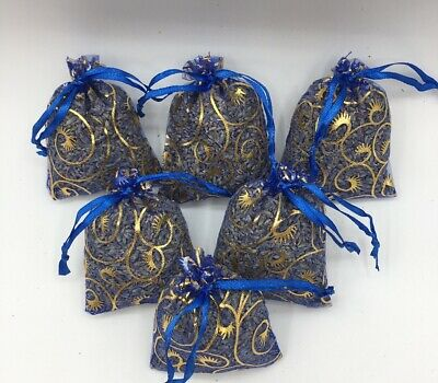 6 Blue Lavender Sachets Dried Flower Buds Blue Bags Potpourri Mix Fresheners