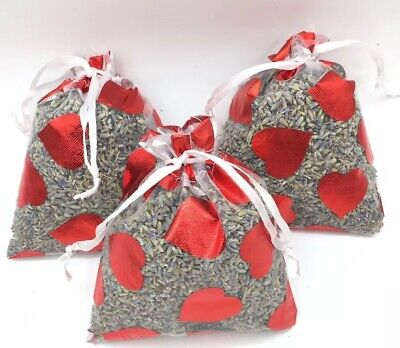 3 Organic Lavender Aromatherapy White With Hearts Sachets Dried Flower Potpourri