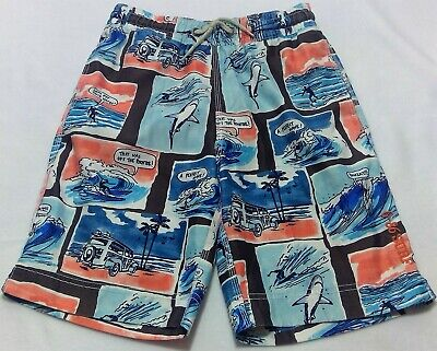 a4e32bdbde Gap kids boys large swim trunks pocket surfing blue red drawstring shark  car wav
