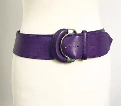 NICK WILLIAMS Vintage Purple Soft Leather belt 80s 90s bold vibrant