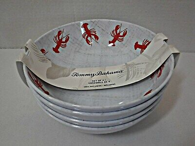 "Tommy Bahama 100% Melamine 7.5"" Cereal Soup Bowls Set of 4 Lobster Design NEW"