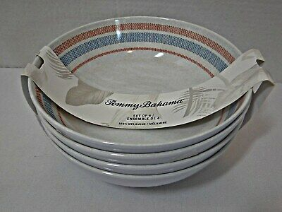 "Tommy Bahama 100% Melamine 7.5"" Cereal Soup Bowls Set of 4 Striped Design NEW"