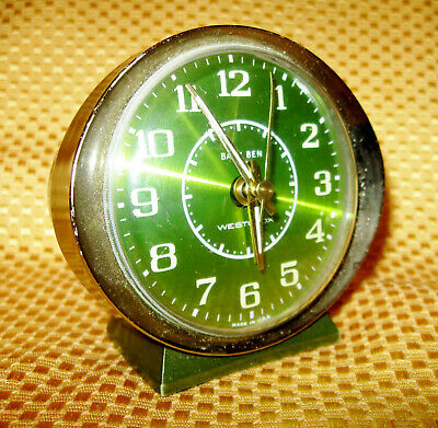 Vintage Westclox Baby Ben Wind Up Alarm Clock Avocado Green Gold Trim Made USA
