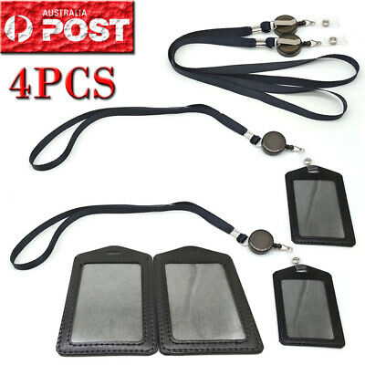 4PCS Leather Business ID Badge Card Holder + Retractable Lanyard Neck Strap Band