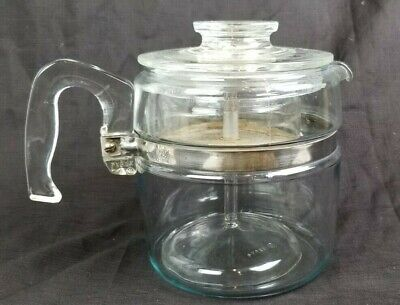 Vintage Pyrex Percolator 6 Cup Glass Coffee Pot Complete