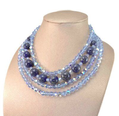 CHRISTIAN DIOR Germany Vintage 1960 AB Crystal Bead Necklace Earring Demi-Parure