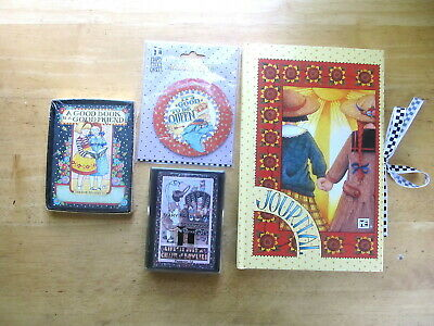 Lot Mary Engelbreit Items - Journal, Playing Cards, Book Plates, Magnet