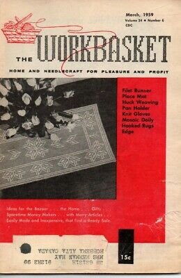 Vintage Workbasket Magazine Vol 24 No 6 March 1959 Tatting Knitting Crochet