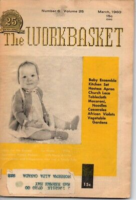 Vintage Workbasket Magazine Vol 25 No 6 March 1960 Tatting Knitting Crochet