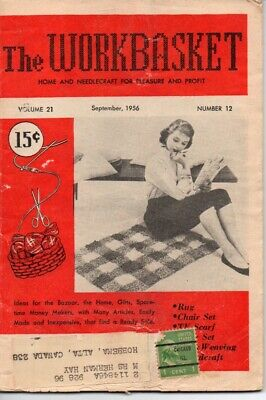 Vintage Workbasket Magazine Vol 21 No 1 September 1956 Tatting Knitting Crochet