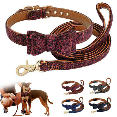 Luxury Bow Tie Dog Collars and Leash Soft Leather Padded Pet Puppy Cat Yorkie