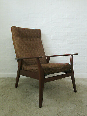 Mid 20th Century Dark Wooden Framed Brown Fabric Armchair For Re Upholstering