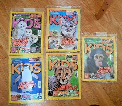 5  National Geographic Kids Magazines, Penguin, Owls, Cheetah, Lynx, Chimps, New