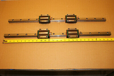 """2x Hiwin HGR-25 Linear Rails 28"""" Long with HGW25CCH Bearing Blocks - CNC Parts"""