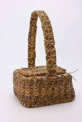 Antique Vtg Hand Woven Grass Pine Needle Basket Handle Lid Distressed American