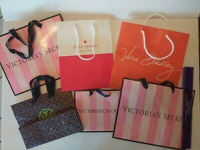 f6e7661830f3 Lot Of 6 Designer Kate Spade Tory Burch Paper Shopping Bags Empty Various  Sizes