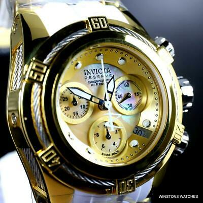 Ladys Invicta Reserve Bolt Zeus Swiss Made 40mm White Watch MOP Chrono Rare New