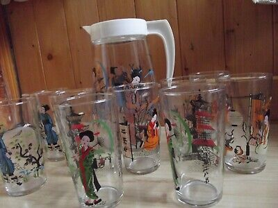 Rare Vintage Set 12 Japanese Chinese Drinking Glasses & Large Jug excellent cond