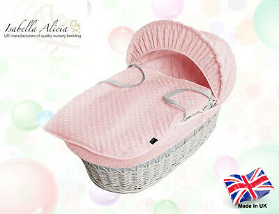Isabella Alicia Super Soft Replacement Pink Dimple Moses Basket Dressing .
