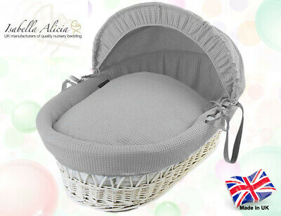 Isabella Alicia Replacement Grey Cotton Waffle Moses Basket Dressing .