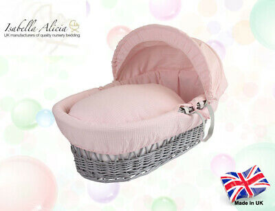 Isabella Alicia Replacement Pink Cotton Waffle Moses Basket Dressing .