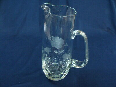 Vintage Tall Blown Glass Gray Cut Etched Floral Martini Cocktail Pitcher Carafe
