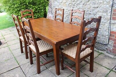 Fantastic Vintage French Solid Pine Plank Top Shaker Table & 6 Rush Seat Chairs
