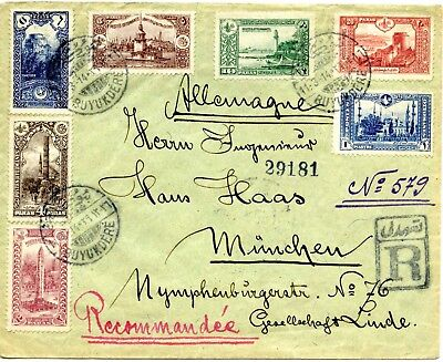 1914. Registered cover from Buyukdere, Istanbul, Turkey, to Munich, Germany