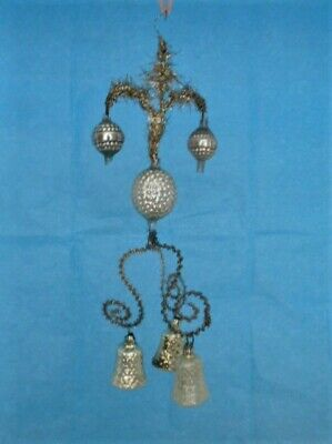 Early 1900s Tinsel Ornament with Glass Beads & Small Glass Bells ~ German
