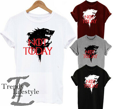 Game Of Thrones Arya Stark Inspired God Of Death Not Today Wolf Print  Tshirts