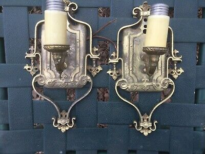 Solid Brass Antique Wall Sconce Electric Lights Pair Nice