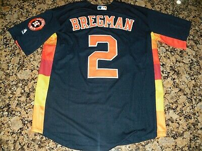 68796767248 Alex Bregman Houston Astros  2 Blue Rainbow Stitched Baseball Jersey (M 40