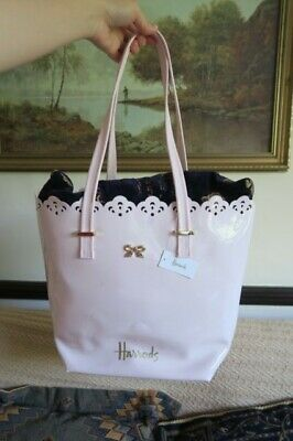52f72477c6 BNWT Harrods shoulder lace bow tote pink shopping shoulder bag travel  holidays
