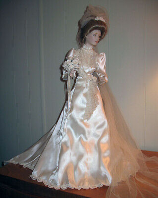 e7d95a5e Vintage GIBSON Girl Victorian BRIDE Porcelain DOLL Franklin Mint Heirloom w  BOX