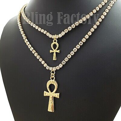 """Iced Double Ankh Cross Pendant w/ 3mm 16"""" & 18"""" 1 Row Tennis Chain Necklace"""
