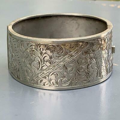 Antique Victorian Sterling Silver Engraved Floral Design Hinged Bangle Bracelet