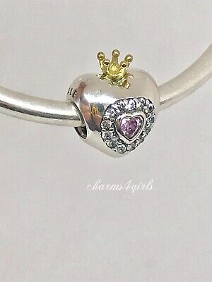 97def54d1 NEW AUTHENTIC Pandora PRINCESS HEART CHARM, PINK CZ 14k Silver 925 Ale