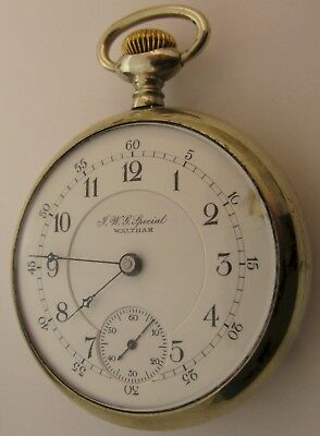 JWG Special Waltham Pocket watch 16s 17 jewels adj. see thru back ... OF