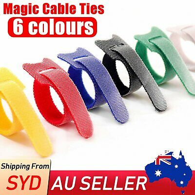 12/24 Magic Cable Ties Reusable Velcro Coded Organiser Cords Hook Loop AU