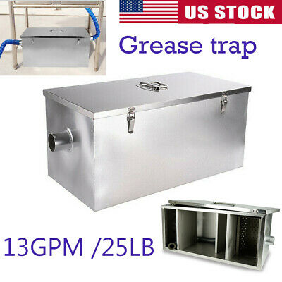 25LB Commercial 13GPM Stainless Steel Grease Trap Interceptor With Filter Basket