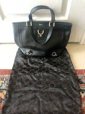 973d274fdcb3 GUCCI ABBEY BLACK Canvas Leather D-Ring Tote Bag Handbag Authentic ...
