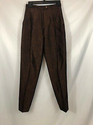 Alberto Makali Womens Size 2 Brown Crinkle Pleated Tapered Dress Pants