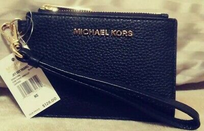 559b4ed04518 Nwt Michael Kors Jet Set Travel Black Leather Coin Purse Wristlet wallet  Mk! 128